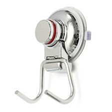 Kitchen Stainless Steel Double Hook Strong Vacuum Suction Cup Hanger Silver T1