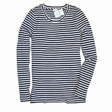 J Crew Factory - L - NWT - Navy Blue Striped Ribbed Crew Tee - Thermal Shirt