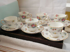 SIX  1947 +  CUPS AND SAUCERS BY TUSCAN CHINA [ PLANTS] IN BOUQUET PATTERN