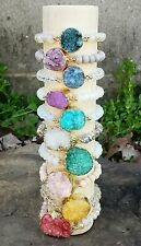 10 WHOLESALE MIX GOLD AGATE DRUZY CRYSTAL STONE ROCK GEM BEAD STRETCH BRACELETS