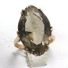 Estate 9k rose gold 18 carat Smokey brown Topaz ring Marquise Large Vintage long