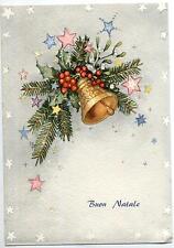 Buon Natale con  Campana Xmas w Bell Cloche Glocke Vintage PC Circa 1950 3