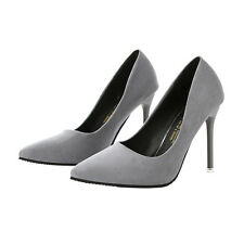 Ladies Suede Shallow Mouth Pointed 10CM High Heels Shoes Women's Singles Shoes
