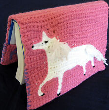 HANDMADE Knit CROCHET Pink BOOK or PHOTO Album COVER White UNICORN Horse TIFFANY