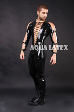 Man's Sexy and Tight Rubber Latex Catsuit with Eyelets Rivet Bodysuit Costume
