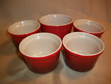 "LE CREUSET  4 piece red / brown   cookware 3 3/8"" Ramekin Set + Bonus 3 7/8"" pc"