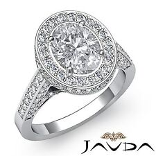 Halo Pave Oval Diamond Antique Engagement Ring GIA G VS2 18k White Gold 2.8ct