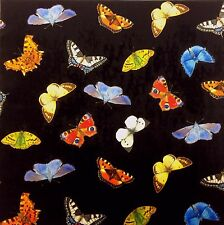 TEX EX ORIGINAL BRITISH BUTTERFLIES BLACK VELVET CUSHION PANEL BUTTERFLY PRINT