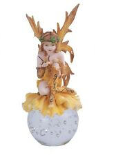 "6.5"" Inch Yellow Spring Fairy Sitting on Crystal Ball Statue Figurine Figure"