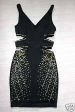 NWT bebe top black stud double v neck side cutout sparkle sexy cocktail L large