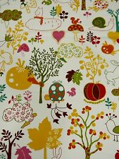 Moda Keiki Wee Woodland Animals Play Rabbit Turtle Birds Cream  Fabric