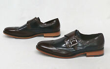 Stacy Adams Men's Stratford Monk Strap Wing Tip Dress Shoes Navy/Brown Size 8.5