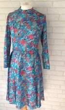 Vintage 1970's Richard Stump Green and Red Pattern Long Sleeve Dress Size 12