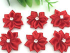 New 10pcs 25mm Poinsettia Satin Ribbon Flower For DIY Decoration Applique Red