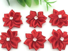 New 10pcs 25mm Poinsettia Satin Ribbon Flower For DIY Decoration Applique Red #4