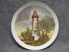 "Porcelain 9.25"" Decor Plate Lighthouse w/ Seagulls HEJD Ceramics Conneaut Ohio"