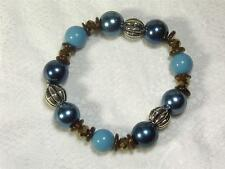 CYNTHIA LYNN BLUE TURQUOISE BROWN BEAD BRACELET Inspired by JAVA BLUE
