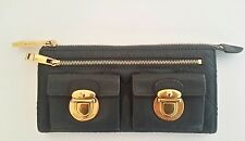 Marc Jacobs Quilted Italian Leather Wallet Clutch  Navy Blue, Gold Hardware EC