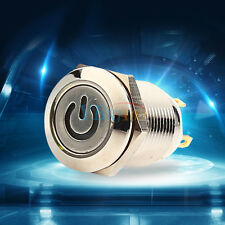 12V 9.5mm LED Metal Power Momentary Push Button Switch Waterproof IP65 for Car