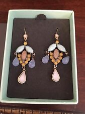 Ann Taylor Loft Jewel Earrings Dangling Long New Fashion Blue Gold