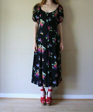 Vintage BETSEY JOHNSON button up off the shoulder ots floral 90s maxi dress