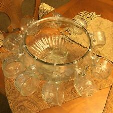 Large Antique Vintage Glass Drink Punch Bowl & 12 Cups Mugs Set Lot