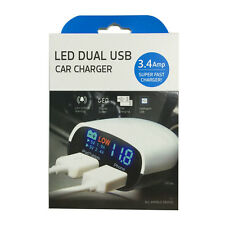 Smart IC 5V 3.4A Dual USB Port LED Display Car Charger Adapter w/Buzzer Alarm