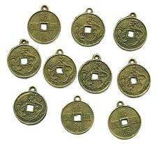 10 x Chinesischer Anhänger Drache Cash Münze  Coin für Halskette Ohrringe etc.