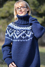 DUKYANA Hand Knitted WOOL no Mohair Sweater New ICELANDIC thick jumper mens XL