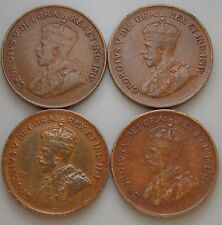1920 1929 1932 1933 Canada Canadian Old Small 1 Cent  Coins Lot Of 4