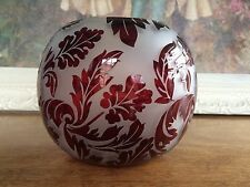 ART NOUVEAU ACID CUT ETCHED CAMEO ROSE BOWL GLASS VASE RUBY RED