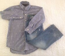 BTS LKNW Boy 6 7 GAP Kids Distressed Straight Jeans & Striped Skull Shirt Outfit