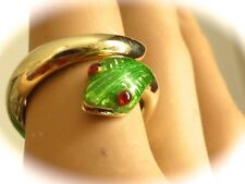 Vintage designer singed MARTINE green  enamel snake ring Ruby eyes 6 .5 size