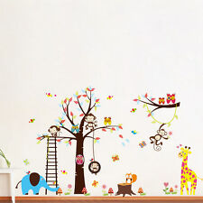Owl Wall Stickers Zoo Animal Elephant Jungle Tree Nursery Baby Decal Mural Art