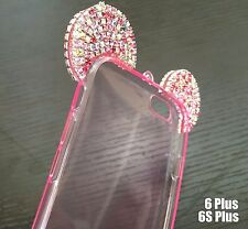 For iPhone 6+ / 6S+ Plus - TPU RUBBER CASE PINK DIAMOND BLING MINNIE MOUSE EAR