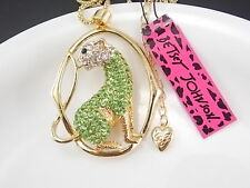 Betsey Johnson fashion jewelry green Rhinestones Leopard pendant necklace # B029