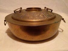 LARGE VINTAGE BRASS YUNNAN FUNNEL STEAM POT/ INCENSE BURNER ANIMAL ZODIAC ON LID