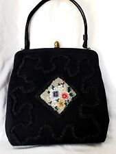 Vintage 50's Rare Claire Fashions Beaded and Embroidered Black Handbag in EUC