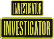 investigator embroidery patch 4x10 and 3x6 inches gold letters