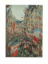 "1977 Vintage IMPRESSIONISM ""RUE MONTORGUEIL DECKED WITH FLAGS"" MONET Lithograph"