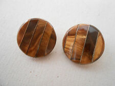 Mexico Sterling Silver Tiger's Eye Round Clip On Earrings  190908