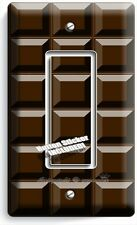 DARK CHOCOLATE BAR CUBES SINGLE GFCI LIGHT SWITCH WALL PLATE CHEF KITCHEN DECOR