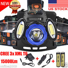 15000LM CREE 3x XML T6 LED Headlamp Headlight Flashlight Head Light+18650+Charge