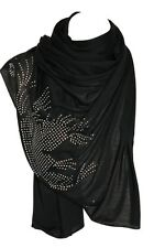 Black Jersey Diamante Stretchable Scarf Wrap Shawl Stole Hijab Head Scarf