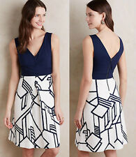 ANTHROPOLOGIE HD in Paris NWT Ardmore Dress V-Neck Knit Navy Ivory Sz 2P XS $148