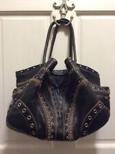 Women's Large Cole Haan Village Grommet Black Studded Leather Hobo / Tote