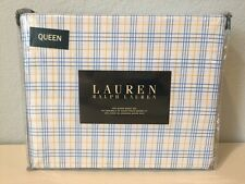 Ralph Lauren Bright Blue Yellow Plaid 4 PC Queen Sheet Set Fitted Flat Cases