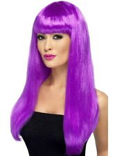 Womens Girls Purple Babelicious Wig Long Straight Fringe Katy Perry Colour Hair