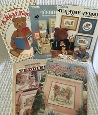TEDDIE BEAR Counted Cross Stitch Books & Leaflets ~ Lot of 5