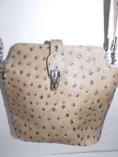 Sac en véritable cuir d'autruche beige - leather bag  ostrich